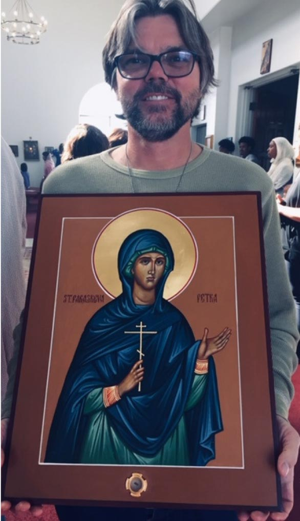 Michael Hayden with icon of St Petka